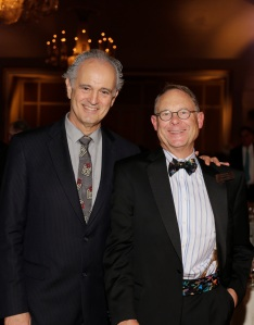 Windrush Farm Board Chairman Bob Gore stands with the Dances with Horses Gala auctioneer, Jim Braude of NECN. The event raised $120,000 to benefit the clients with disabilities at the farm.