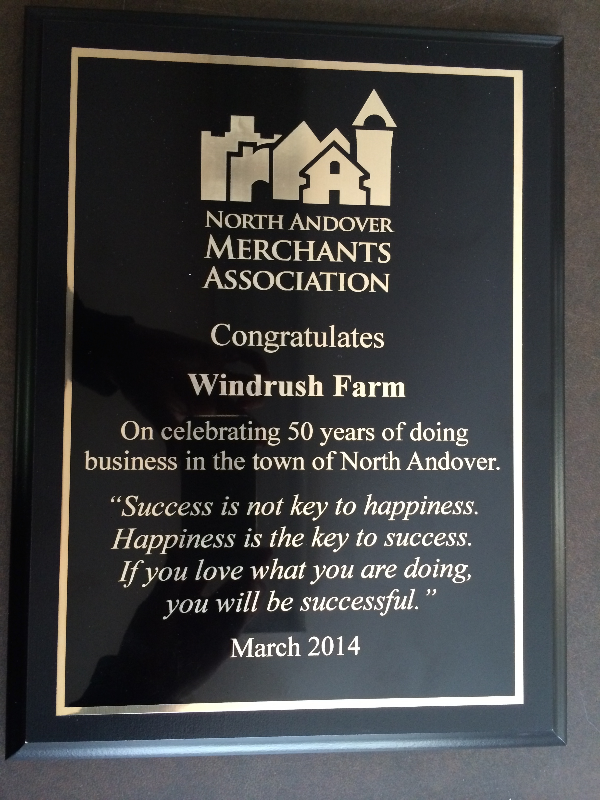 Windrush Honored By North Andover Merchants Association
